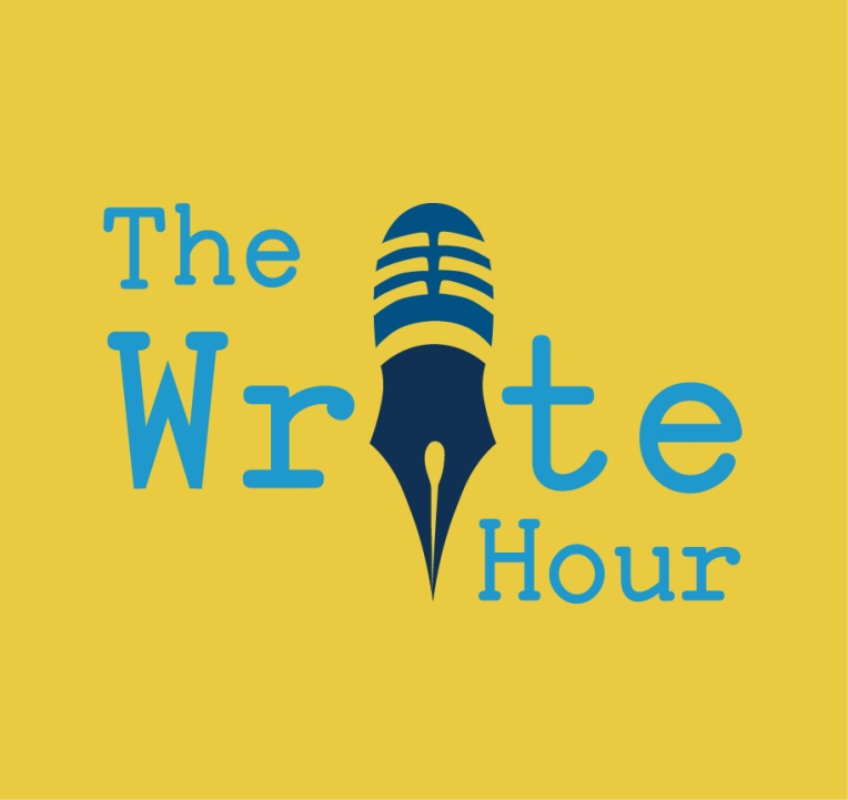 The Write Hour logo, a yellow background with The Write Hour written in blue. The I in write features a microphone head and a pen tip as the bottom of the I.